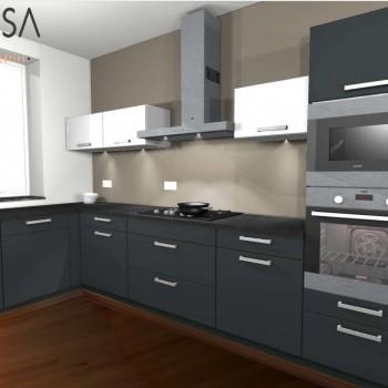 Kleur advies keuken. Kitchen colour advice. Bruin Brown Grijs Gray