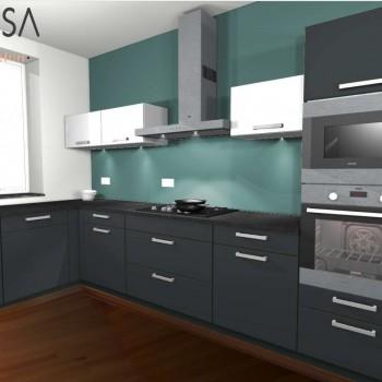 Kleur advies keuken. Kitchen colour advice. Blauw Blue Grijs Gray