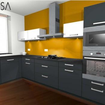 Kleur advies keuken. Kitchen colour advice. Mustard Grijs Gray